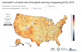 Yale Opinion Map on America's views on climate 2019
